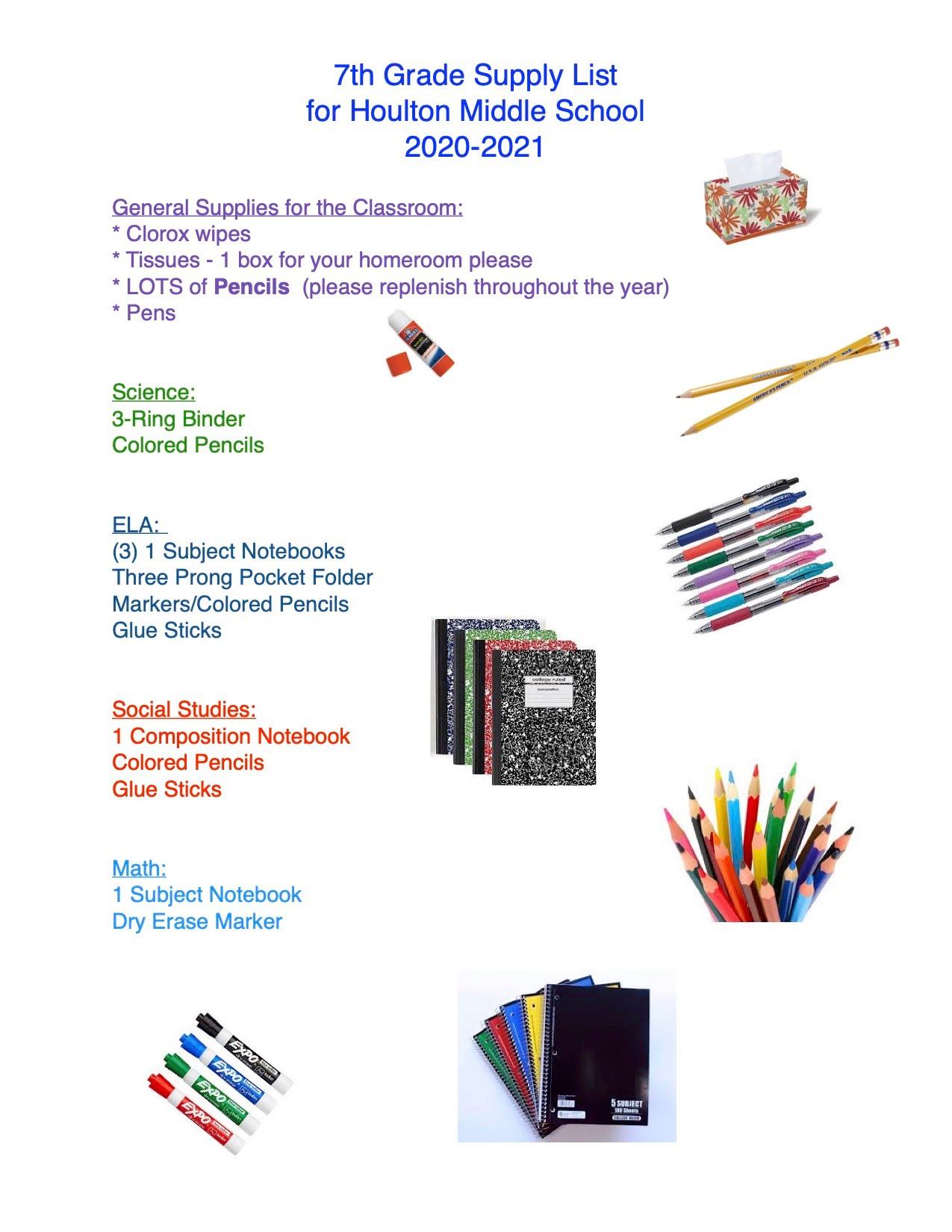 Grade seven supply list