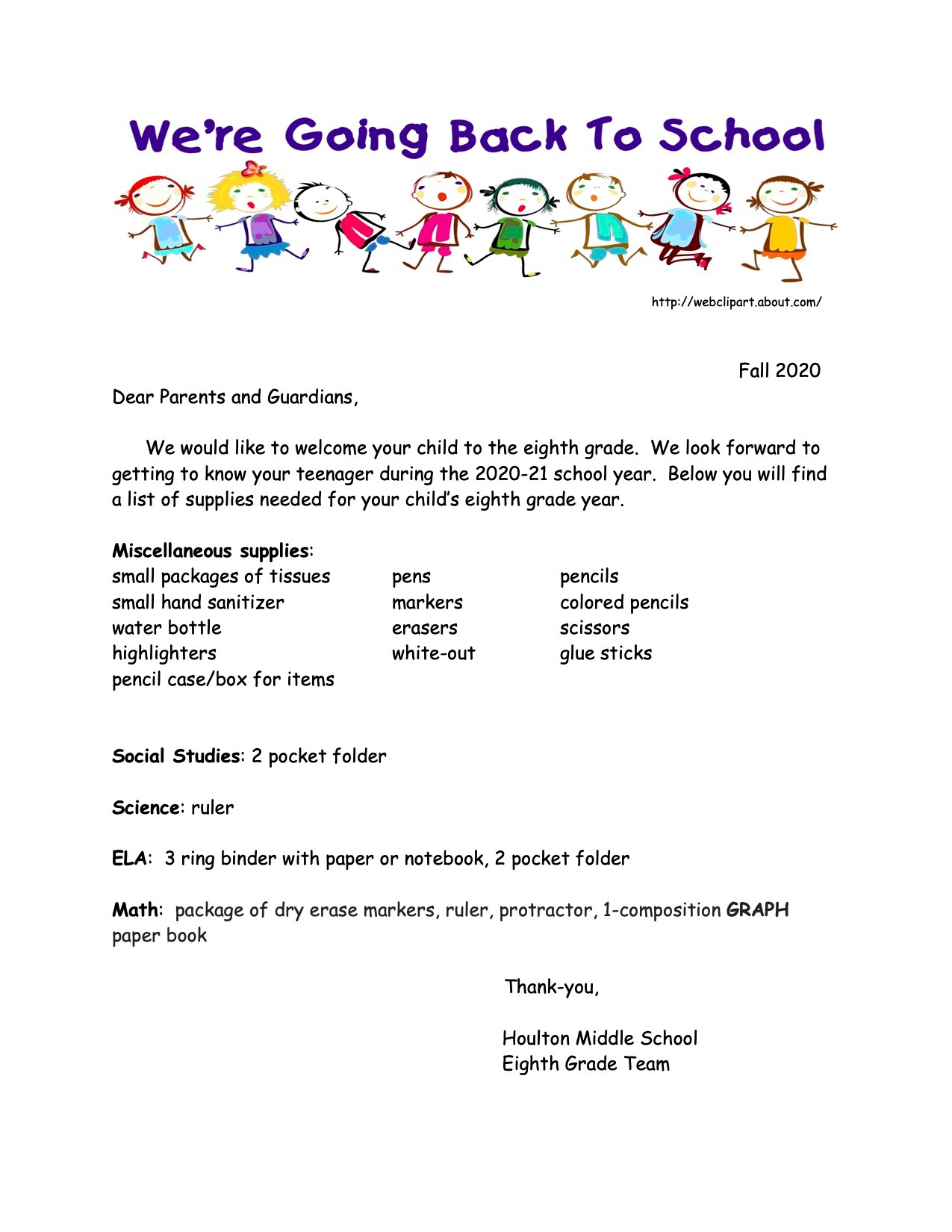 Grade 8 supply list